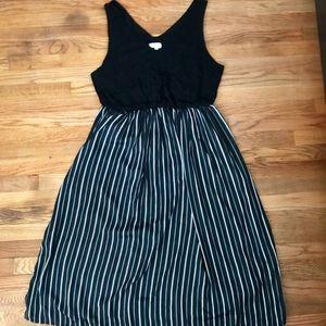 Ann Taylor Loft Black V Neck Striped Midi Dress XL